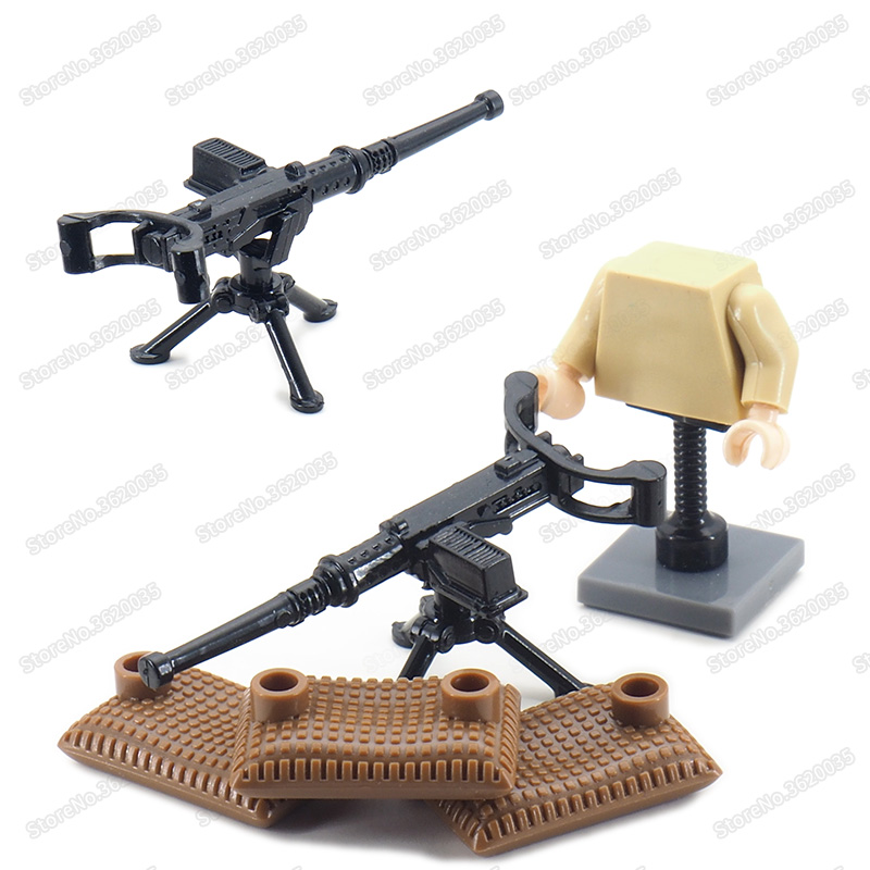 Legoinglys WW2 American M1919 Guns Military Figures Weapons Diy Building Block Assembly Army Soldier Moc Boy Christmas Gift Toys