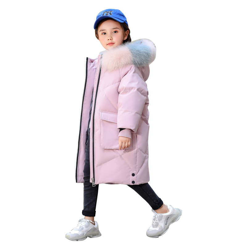 Girl Down Jacket With Fur  High Quality Winter Colorful Real Fur Super Warm Thick Kids Winter Coat Minus 50 Degrees  Parka