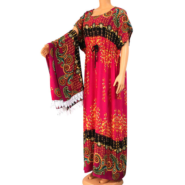2020 Dashikiage New Arrival African Dress For Women 100% Cotton Floral Print Modern African Women Dress With Lace Big Scarf