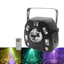 4in1 Gobo Laser Projector DJ Light Strobe RGBW Magic Ball LED Blacklight Stage Lighting Effect Dmx512 Remote Disco Party Light