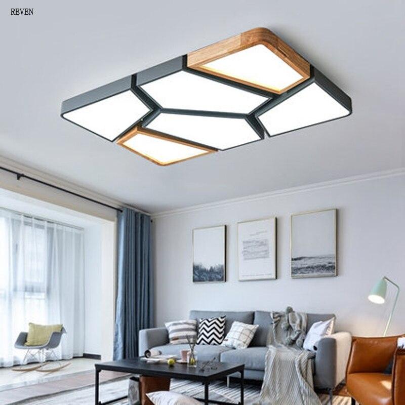 Nordic Wood led ceiling lights for living room nordic chandeliers for bedroom indoor lighting ceiling lamp panel lights Macaron