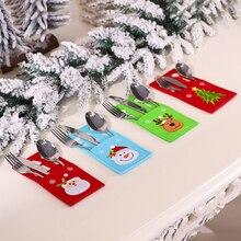 Bag Christmas Tableware Cutlery-Holder Reindeer Dinner-Decoration Santa-Claus New-Year