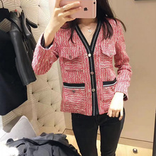 New Jacket, Small Fragrance, Elegant White V-collar Multi-pocket Cardigan V-Neck Single Breasted Women Coats and Jackets new autumn v neck vintage plaid coats small fragrance big pocket outwears single button elegant women куртки женские 2019
