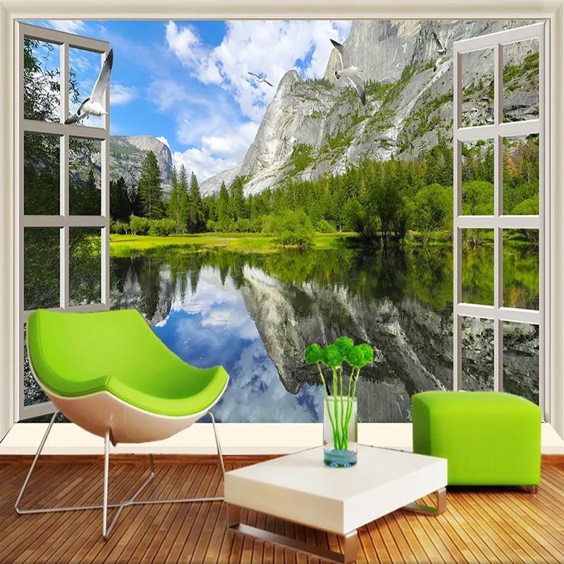 Custom 3D Wall Murals Classic Window Lake Mountain Nature Scenery Photo Wallpapers Living  Room Bedroom 3D Decor Papel De Parede