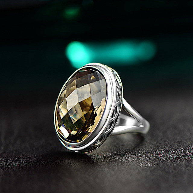 Real Pure Ring 925 Sterling Silver Smoky Quartz Antique Exaggerate Rings For Women Faceted Natural Stone Fine Jewelry Anillos