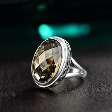 Véritable pur anneau 925 argent Sterling fumé Quartz Antique exagérer anneaux pour les femmes à facettes pierre naturelle Fine bijoux Anillos