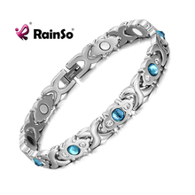 Rainsoステンレス鋼リンクチェーンチャーム磁気ゲルマニウム遠赤外線ブレスレット女性のファッションファム腕輪ジュエリー