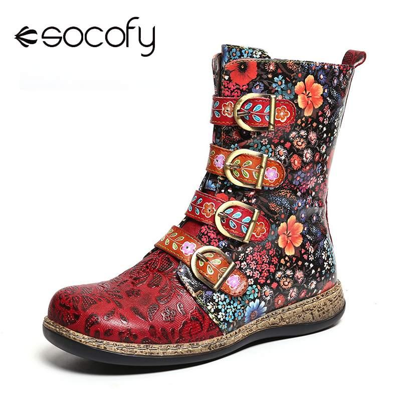 Socofy/Женские ботинки в стиле ретро; ботильоны из натуральной кожи на молнии с металлической пряжкой; женская обувь; Botines Mujer; 2019