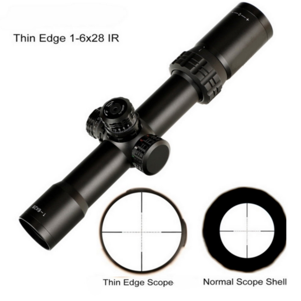Thin Edge 1-6X28 IR Hunting Riflescopes Mil Dot Glass Etched Reticle RGB Illumination Turrets Lock Reset Shooting Scope