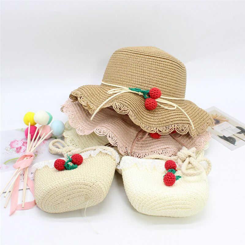 Sommer Baby Blume Atmungsaktive Hut Stroh Hut Mit Handtasche Taschen Kinder Hut Junge Mädchen Sonnenblende UV schutz panama Hut gorras