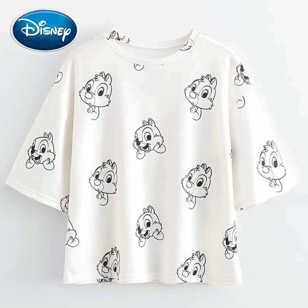 Disney Nette Chip Dale Chipmunk Cartoon Druck Frauen T-Shirt Oansatz Pullover Kurzarm Casual Streetwear Lose T Top 2 Farben