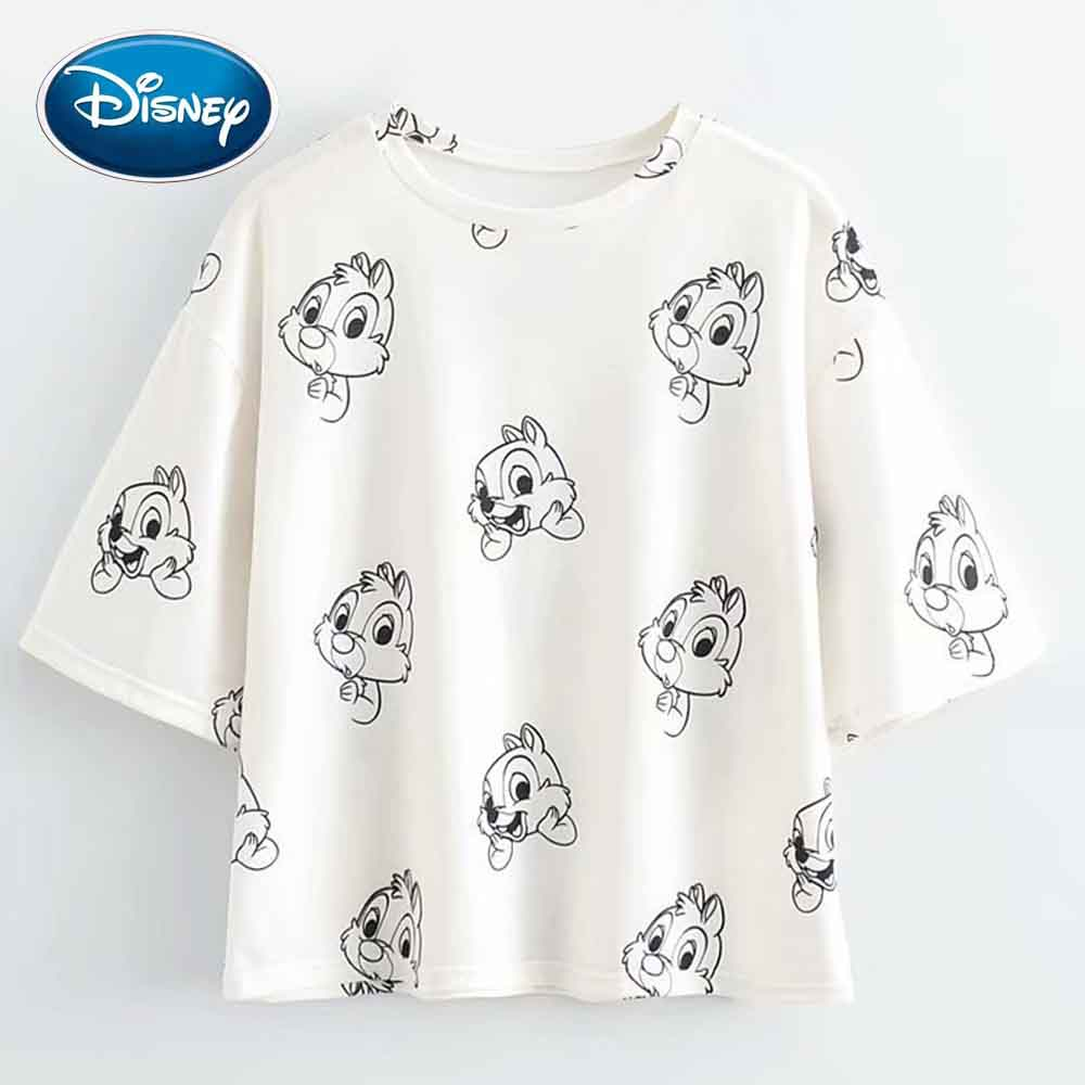 Disney Cute Chip Dale Chipmunk Cartoon Print Women T-Shirt O-Neck Pullover Short Sleeve Casual Streetwear Loose Tee Top 2 Colors