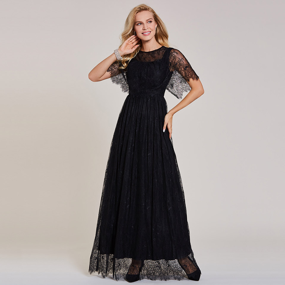 Dressv Black Long Evening Dress Cheap Scoop Neck Short Sleeves Lace Wedding Party Formal Dress A Line Evening Dresses