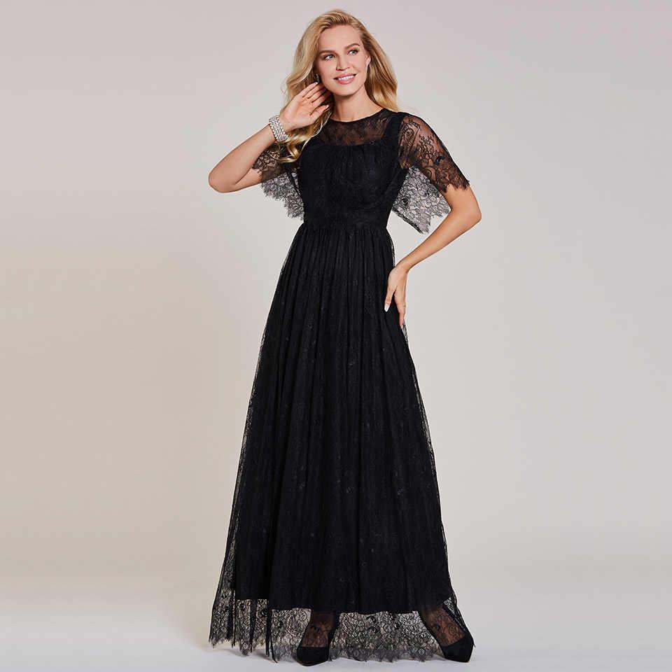 Dressv فستان سهرة طويل أسود رخيصة مغرفة الرقبة قصيرة الأكمام الدانتيل حفل زفاف فستان رسمي خط فساتين السهرة