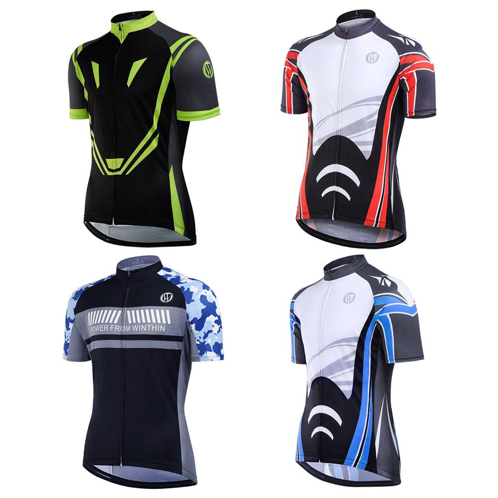 Men Short Sleeve Cycling Suit Full Zip Moisture Wicking Breathable Running Biking Shirts Outdoor Cycling Equipment
