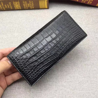 No Patchwork Genuine Crocodile Belly Skin Men's Suits Clutch Wallet Exotic Real Alligator Leather Lining Male Long Card Holders