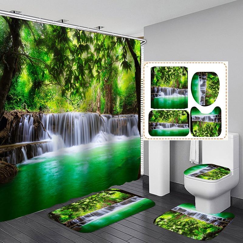 3D Waterfall Scenery Bathroom Shower Curtain Toilet Cover Mat Non-Slip Rug Set