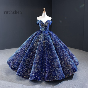 Image 2 - Dreamy Sequin Evening Dresses Long Off Shoulder Fluffy Luxury Princess Formal Party Prom Dress