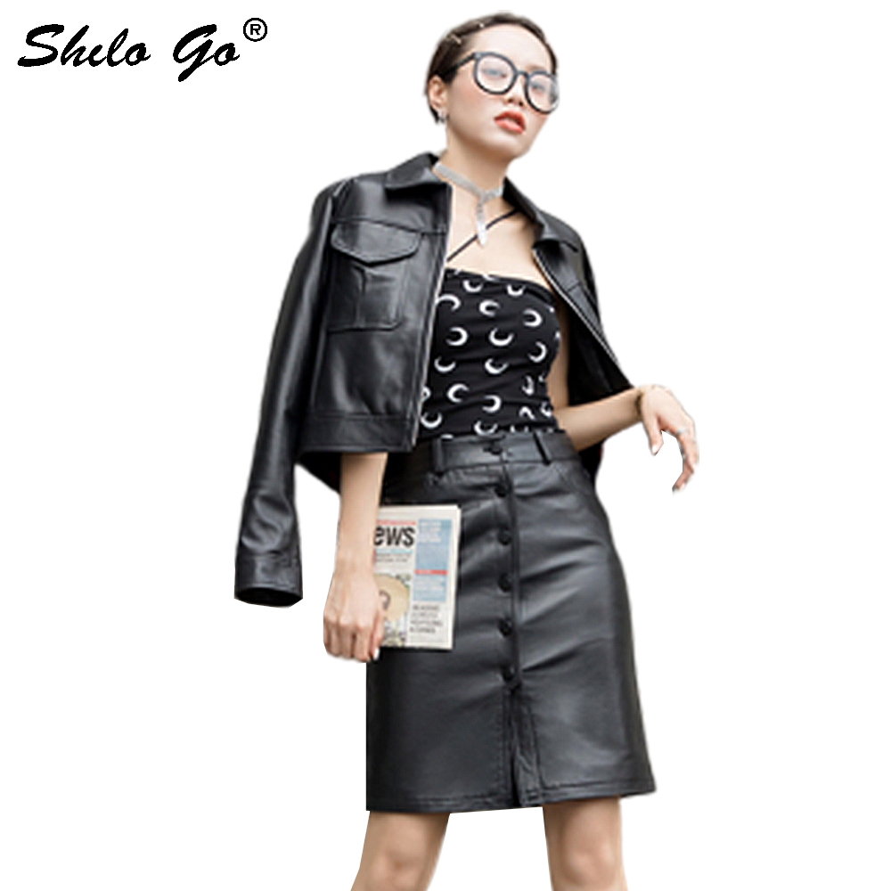 Genuine Leather Skirt Office Lady Single Breasted Front Knee Length Skirts Women Autumn Minimalist High Waist Workwear Skirts