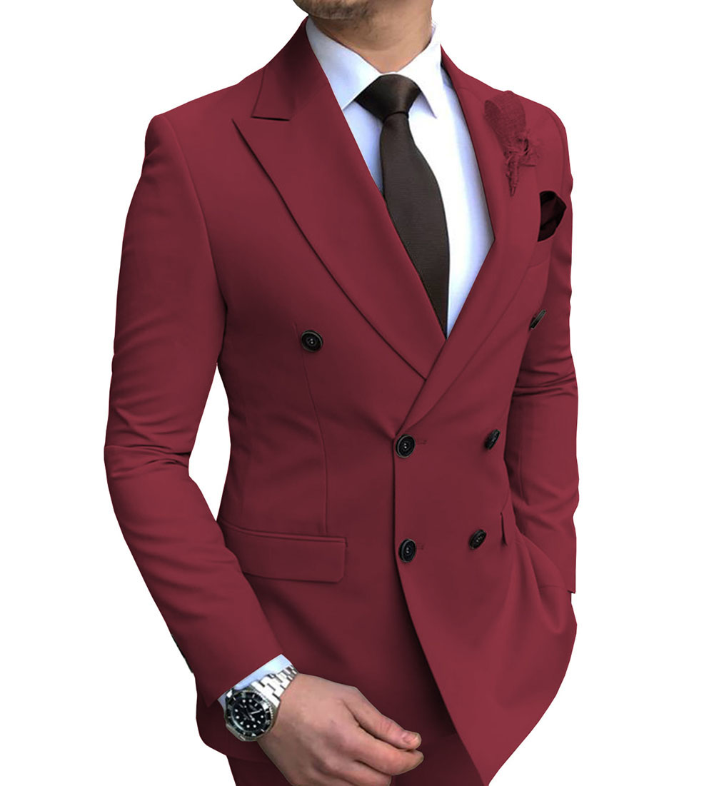 2020 New 1 piece Men's blazer suit jacket Slim Fit Double Breasted Notch Lapel Blazer Jacket for Weeding Groom(one blazer))