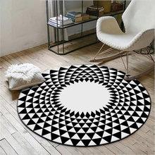 Черный белый ковер с геометрическим узором круглый мягкие ковры