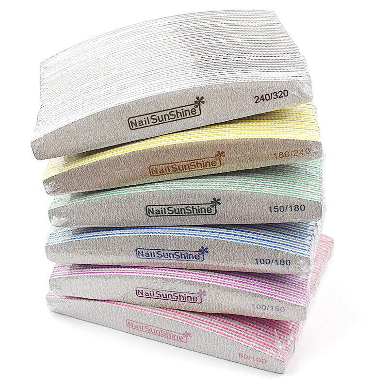 50Pcs Grey Nail File 80/100/150/180/240/320 Washable Double Side Sanding Buffer Block Nail Files For UV Gel Polish Manicure Tool