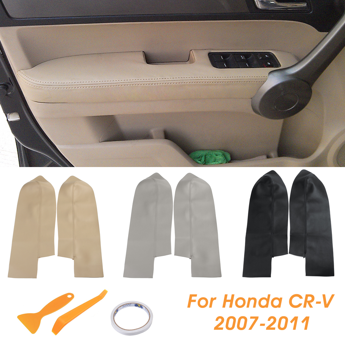 Armrest Covers For Honda CRV 07-11,Pair of Car Front Door Panels Armrest Real Leather Covers Cotton-Material Grey