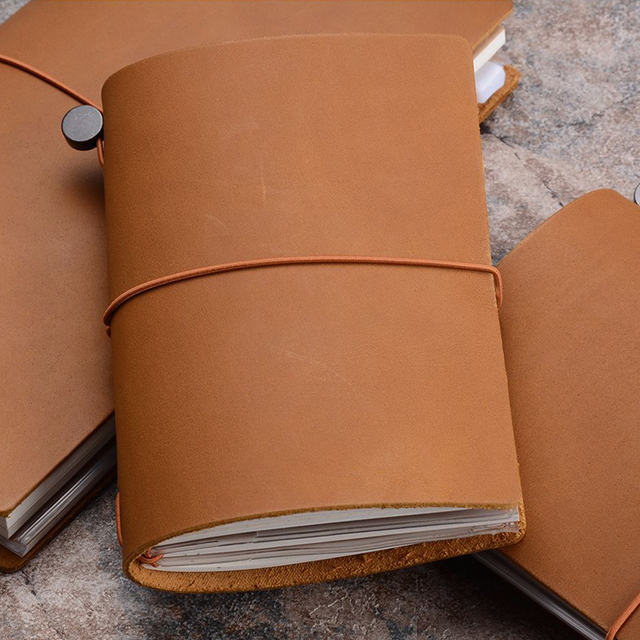 Traveler's Notebook A5 en cuir - Planner rechargeable - camel