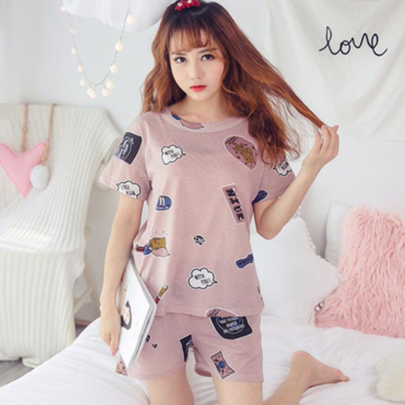 Pajamas Women's Summer Thin Section Pure Cotton Short Sleeve Pajamas Women's Summer Cute Students INS Tracksuit Women's Two-Piec