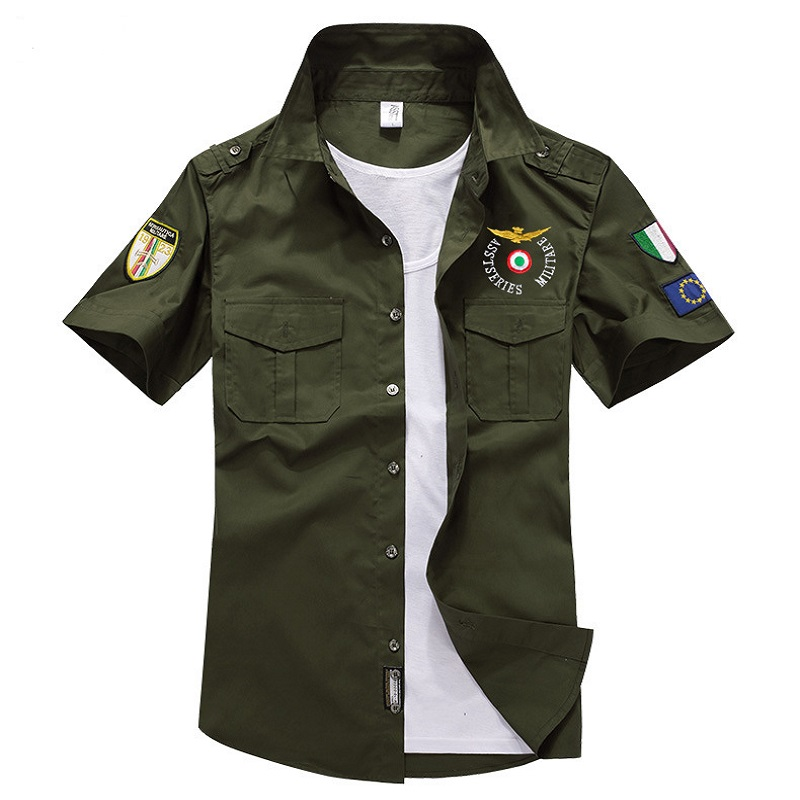 New Designer Air Force One Short Shirts Men Brand Fashion Embroidery Air Militare Men Shirt MA 1 Cotton Slim Fit Shirts thumbnail