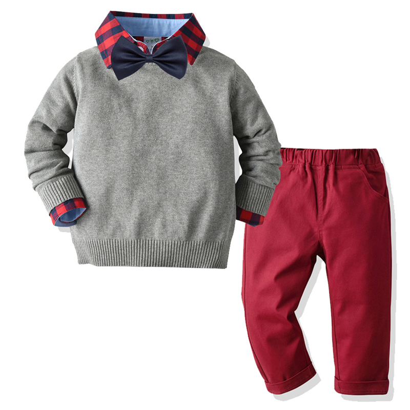 toddler boy clothes forkid christmas clothes solid sweater + plaid shirt +red pants suit kids spring autumn costume baby clothes