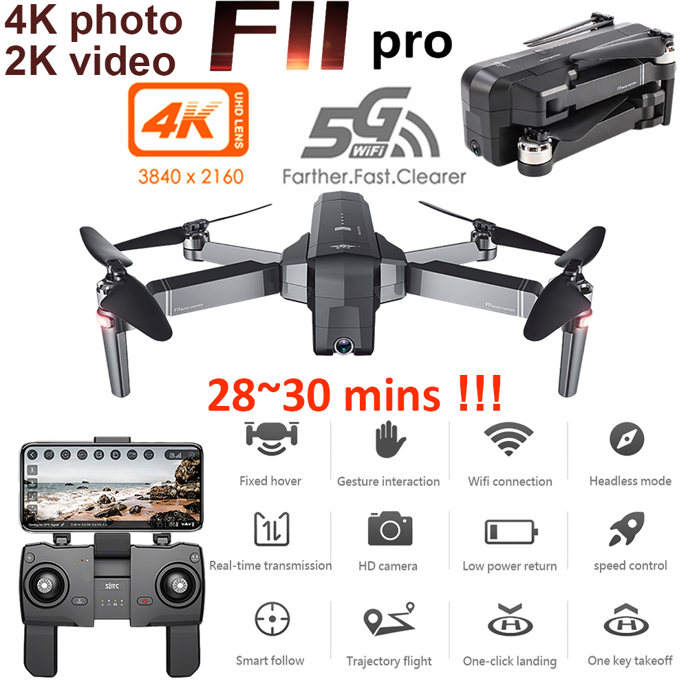 SJRC F11 Pro GPS Drone With Wifi FPV 2K/1080P Camera HD Brushless Quadcopter RC Drones 28mins Flight Time VS B4W