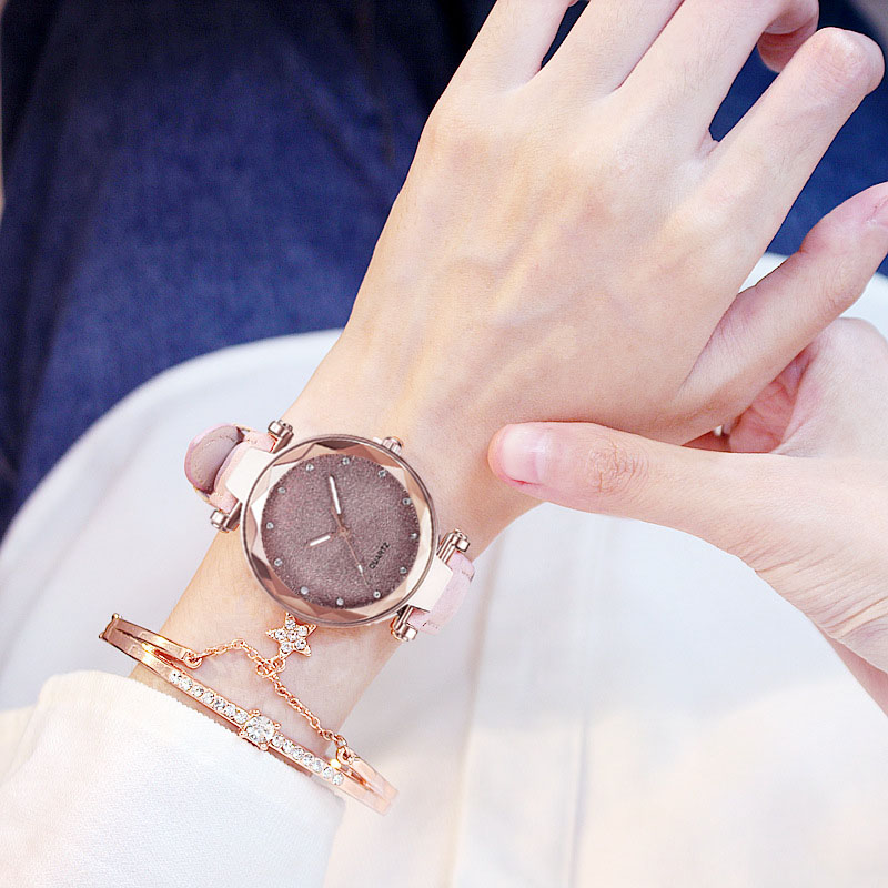 Casual Women Romantic Starry Sky Wrist Watch bracelet Leather Rhinestone Designer Ladies Clock Simple Dress Gfit  Montre Femme 3