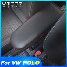 Vtear-Tapa de cuero para Reposabrazos de consola central, enganche para Vw Polo 6r Golf Mk4 Bora Beetle Passat B5 Skoda Octavia Lavida reposabrazos auto accesorios coche interior
