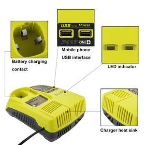 Image 5 - Cargador P117 para Ryobi, 12V 18V, cargador de batería Dual de iones de litio ni cad Ni Mh, fuente de alimentación máxima de 12V a 18V