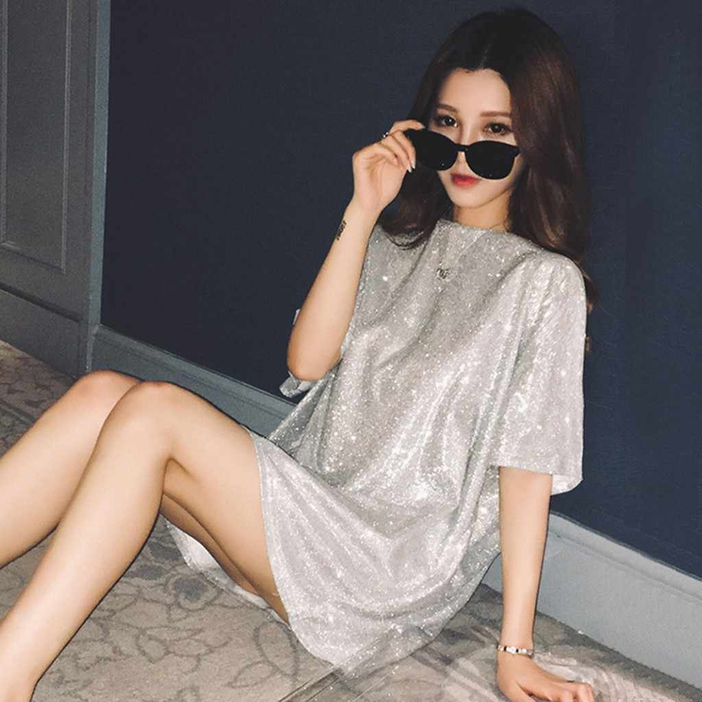 Zomer Tops Voor Vrouwen Pailletten T-shirt Oversized Tee Shirt Korte Mouw Casual Shiny Tops Koreaanse Fashion Streetwear Bling Tops