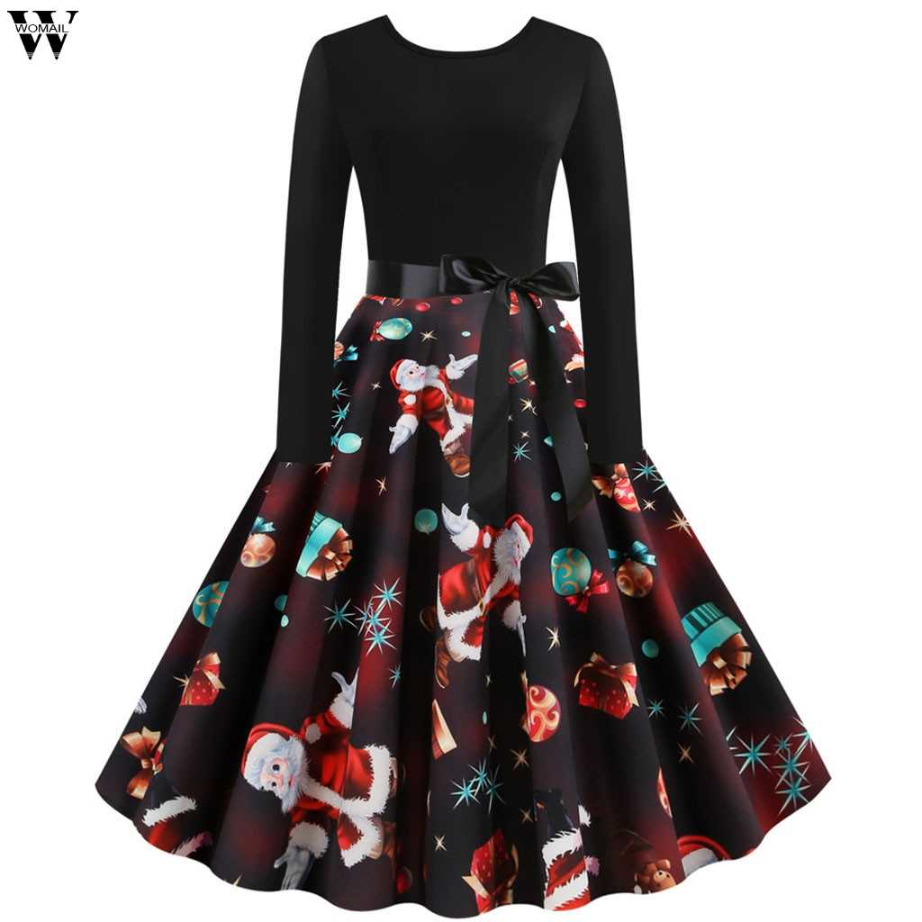 2019 Autumn Women Christmas Dress New Year Festival Large Size Long Sleeve Print Casual vintage Winter Dress Ladies plus size 9