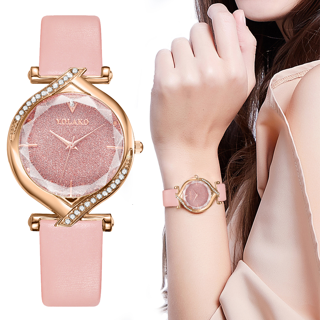 YOLAKO Women Leather Oval Shape Starry Sky Watch Luxury Ladies Quartz Clock For Gift Watches