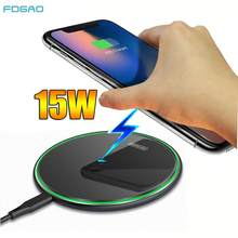 FDGAO Metal 15W Qi Wireless Charger Fast Charging for iPhone 11 Pro X XR XS Airpods Pro Samsung S20 S10 Note 10 Desktop Pad Mat(China)