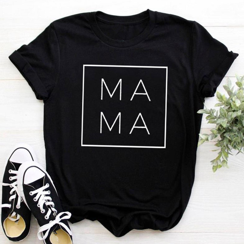 2019 Fashion Women T-shirt Summer Cartoon MAMA Letter Printed Woman Tops Tees Black White Casual Short Sleeve Female Clothing