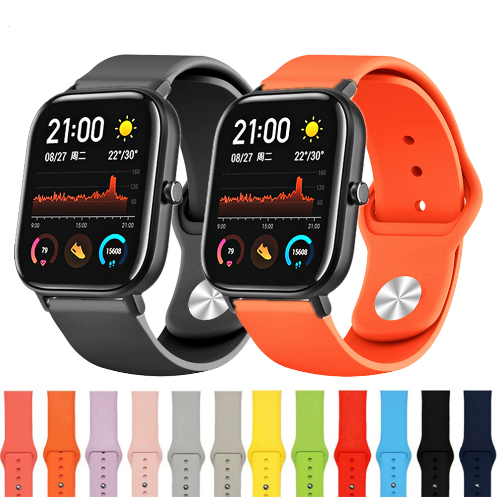 Silicone Replacement Strap For Xiaomi Huami Amazfit Bip GTS GTR 42MM Band For Huawei Watch GT2 42mm Bands For Galaxy Watchband
