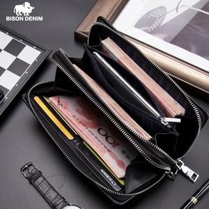 Image 1 - BISON DENIM Männer Brieftasche Mit Münzfach Lange Brieftasche Doppel reißverschluss Business Echtem Leder Kupplung Tasche Rindsleder Geldbörse Männer N8008 2