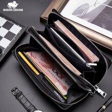 Мужской Длинный кошелек BISON DENIM, коричневый деловой бумажник из натуральной кожи с карманом для монет и двойной молнией, 2019