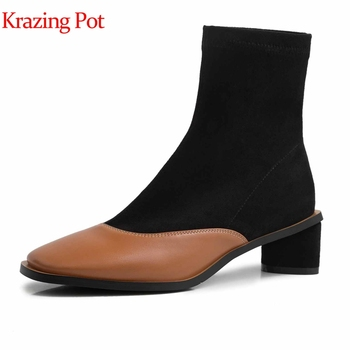 Krazing pot genuine leather patch work slip on mixed color concise ankle boots high heels elegant streetwear winter shoes L1f3