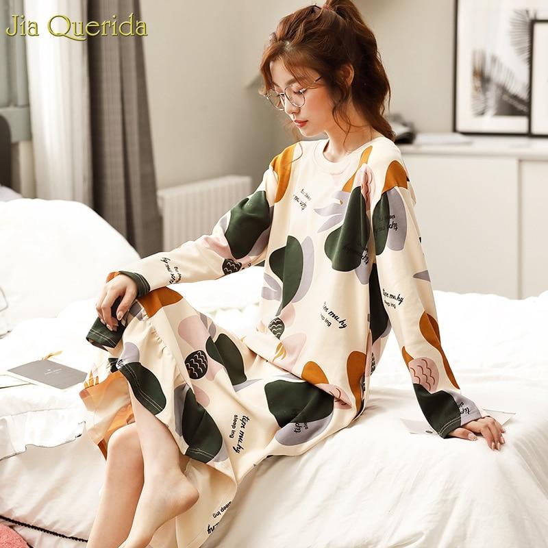 Ruffle Hem Long   Nightgown   Cotton Long Sleeve Sleep Shirt Kawaii Lingerie Plus Size Night Dress Pullover Student's   Sleepshirt   New