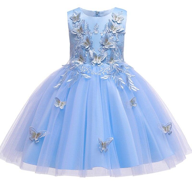 Новинка; платье принцессы для дня рождения, банкета, банкета, с бретельками; кружевное платье с цветочным узором для девочек на свадьбу; праздничное платье с рукавами; vestidos - Цвет: blue