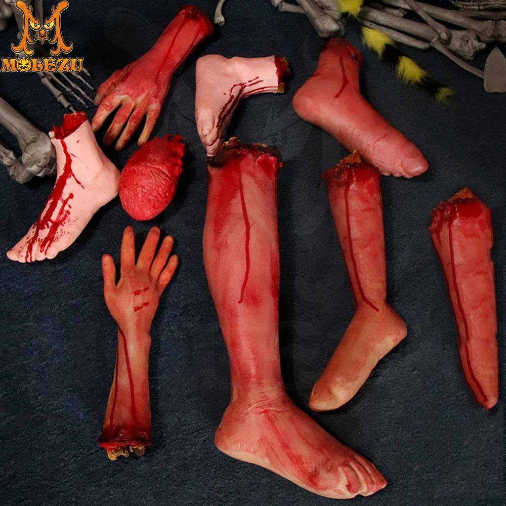 Molezu Halloween Horror Decoration Prop Broken Hand And Feet Bloody Festival Scary Prop Halloween Prop Supplies