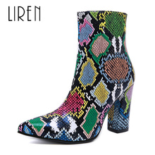 Liren 2019 Winter Women Fashion PU Ankle Zip Snake Pattern Boots Pointed Toe High Square Heels Sexy Comfortable