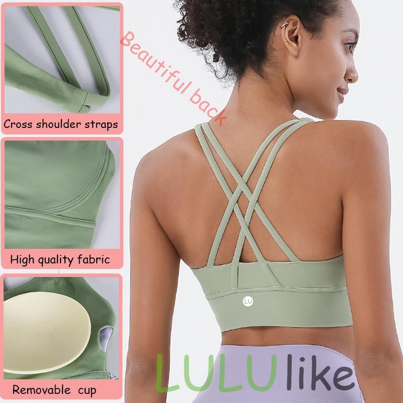 LULUlike женский спортивный бюстгальтер, укороченные топы, новые Супермягкие тканевые топы на широких бретелях для спортзала, однотонные Сексу...