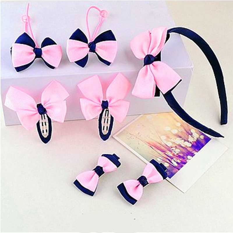 7pcs/set Children Hairband Hairpins Side Clip for Hair Baby Girls Hair Clip Headband pink Bowknot   Headwear   Accessories
